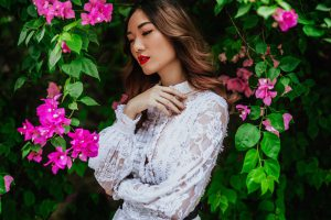 San Diego Wedding photographer - asian lady in white with flowers