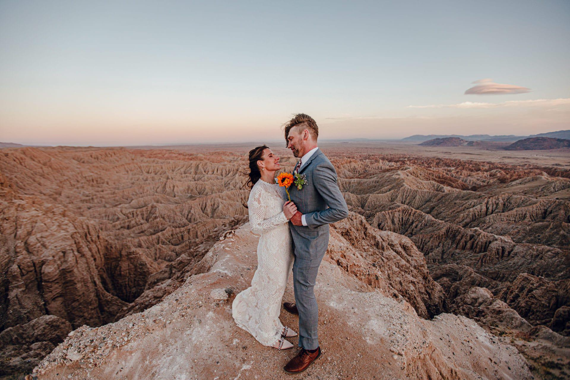 couple on a canyon by san diego wedding photographer