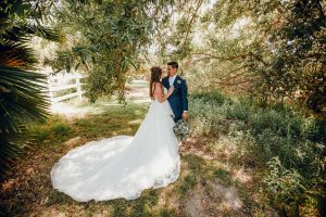 White winter barn wedding portraits